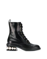 Женские черные кожаные ботинки на шнуровке с украшением от Nicholas Kirkwood