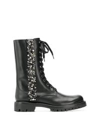 Женские черные кожаные ботинки на шнуровке с украшением от Rene Caovilla
