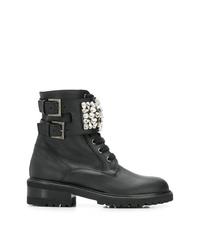 Женские черные кожаные ботинки на шнуровке с украшением от Via Roma 15
