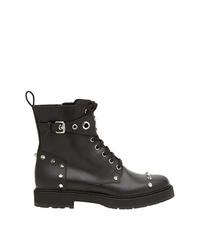 Женские черные кожаные ботинки на шнуровке с шипами от Fendi