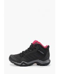 Женские черные кожаные ботинки на шнуровке от adidas