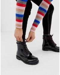 Женские черные кожаные ботинки на шнуровке от ASOS DESIGN