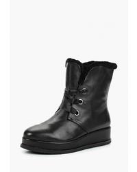 Женские черные кожаные ботинки на шнуровке от Berkonty