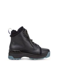 Женские черные кожаные ботинки на шнуровке от Fendi