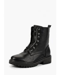 Женские черные кожаные ботинки на шнуровке от LOST INK