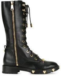 Женские черные кожаные ботинки на шнуровке от Moschino