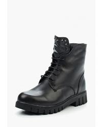 Женские черные кожаные ботинки на шнуровке от Palazzo D'oro