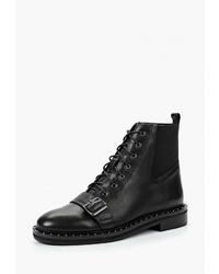 Женские черные кожаные ботинки на шнуровке от Portal