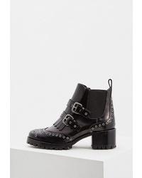 Женские черные кожаные ботинки на шнуровке от RED(V)