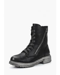 Женские черные кожаные ботинки на шнуровке от Rossa
