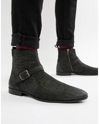 Черные кожаные ботинки челси со змеиным рисунком