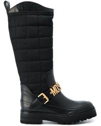 Женские черные кожаные ботинки от Moschino