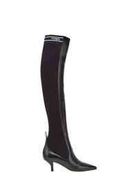 Черные кожаные ботфорты от Fendi