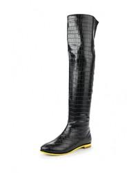 Женские черные кожаные ботфорты от Inario