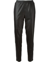 Черные кожаные брюки-галифе