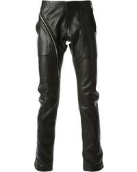 Черные кожаные брюки чинос