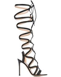 Женские черные кожаные высокие гладиаторы от Gianvito Rossi