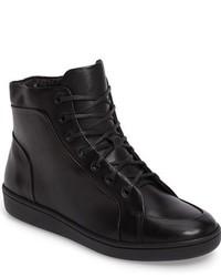 Черные кожаные высокие кеды