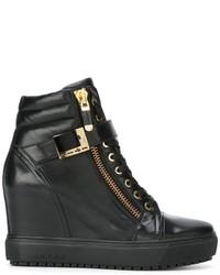 Женские черные кожаные высокие кеды от Baldinini