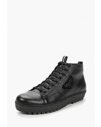 Мужские черные кожаные высокие кеды от HCS