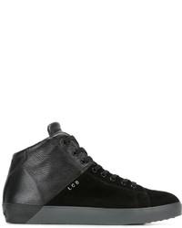 Мужские черные кожаные высокие кеды от Leather Crown