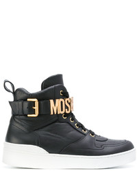 Женские черные кожаные высокие кеды от Moschino