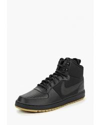 Мужские черные кожаные высокие кеды от Nike