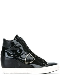 Женские черные кожаные высокие кеды от Philippe Model