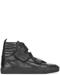 Мужские черные кожаные высокие кеды от Raf Simons