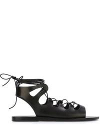 Женские черные кожаные гладиаторы от Ancient Greek Sandals