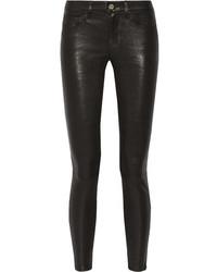 Черные кожаные джинсы скинни