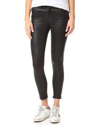 Женские черные кожаные джинсы скинни от A Gold E