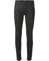 Женские черные кожаные джинсы скинни от Armani Jeans