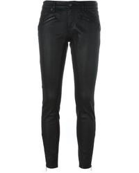 Черные кожаные джинсы скинни от Burberry