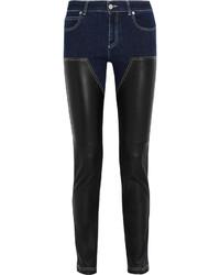 Женские черные кожаные джинсы скинни от Givenchy