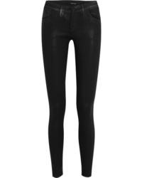 Черные кожаные джинсы скинни от J Brand