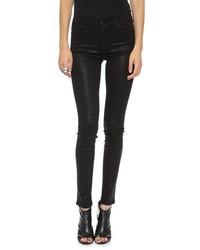 Женские черные кожаные джинсы скинни от Koral