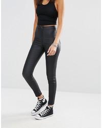 Женские черные кожаные джинсы скинни от Missguided