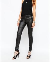 Женские черные кожаные джинсы скинни от Noisy May