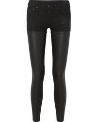 Черные кожаные джинсы скинни от R13