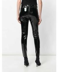 Черные кожаные джинсы скинни от RtA