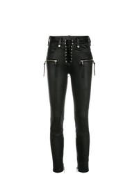 Черные кожаные джинсы скинни от Unravel Project