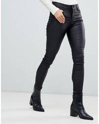 Черные кожаные джинсы скинни от Vila