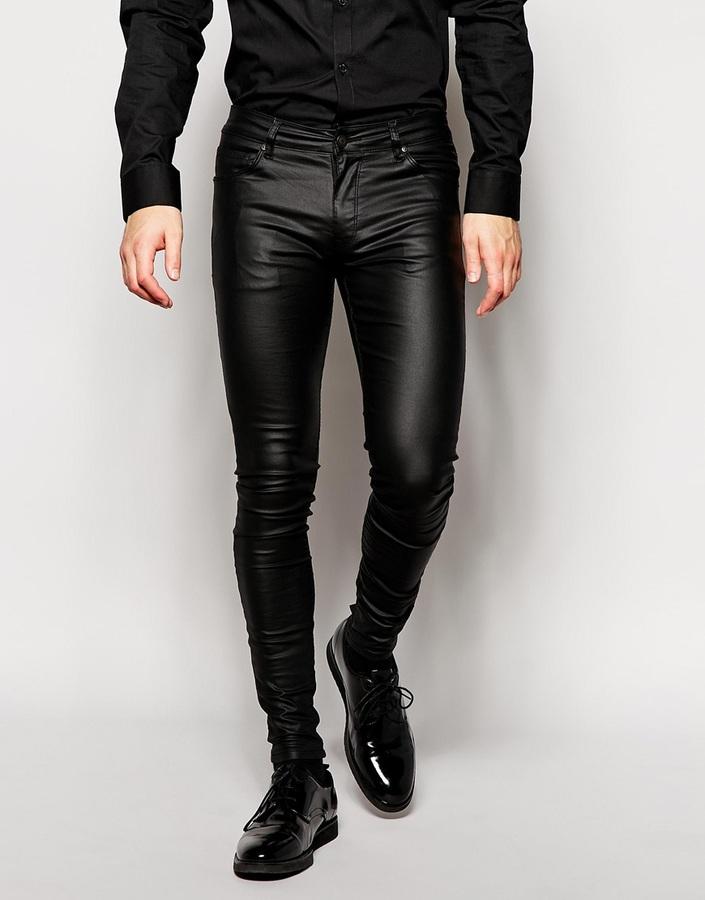 b5e65b11fee2 Мужские черные кожаные джинсы от Asos