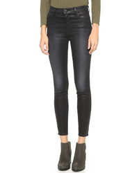 Женские черные кожаные джинсы от J Brand