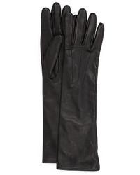 Черные кожаные длинные перчатки