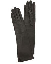 Женские черные кожаные длинные перчатки от Carolina Amato