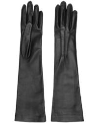 Черные кожаные длинные перчатки от Jil Sander