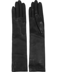 Черные кожаные длинные перчатки от Lanvin