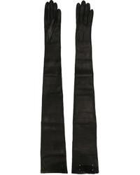 Черные кожаные длинные перчатки от Maison Margiela